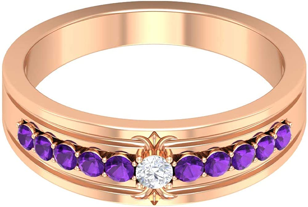 2.50 MM Round Cut HI-SI Diamond Solitaire Band, 0.31 CT Round Shaped Amethyst Eternity Ring, Gold Wedding Band Ring (AAAA Quality), 14K Gold