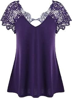 Wintialy Womens V-Neck Plus Size Lace Short Sleeve Trim Cutwork T-Shirt Tops XL-XXXXXL