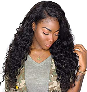 Dolago 360 Lace Frontal Wig Deep Wave for Black Women, Glueless 180% Density 360 Lace Front Wig Brazilian Virgin 100% Human Hair Wigs Pre Plucked with Baby Hair Natural Color(Deep Wave, 14inch)