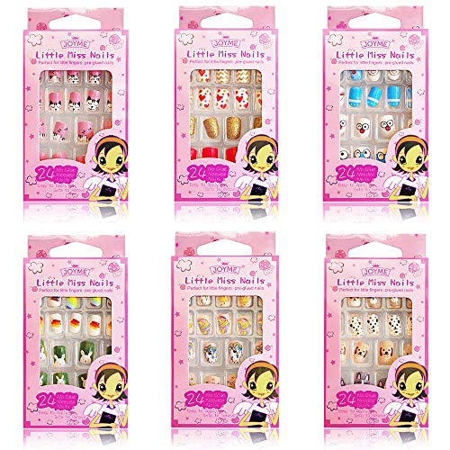 Kalolary 6 Boxen Kinder Fingernägel, Süßigkeiten Muster Kinder Kunstnägel Press on Nails Short Full Cover False Nail Set Künstliche Nail Tips Geschenk für Mädchen Nägel Geschenk