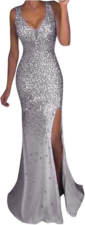Women's Sequin Evening Dress Sexy V Neck Slim Party Elegant Bodycon Gown Sleeveless Split Long Maxi Dress with Slit