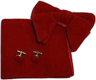 L&L Men's Oversized Velvet Bow Tie + Pocket Square Hanky + Cuff links Set