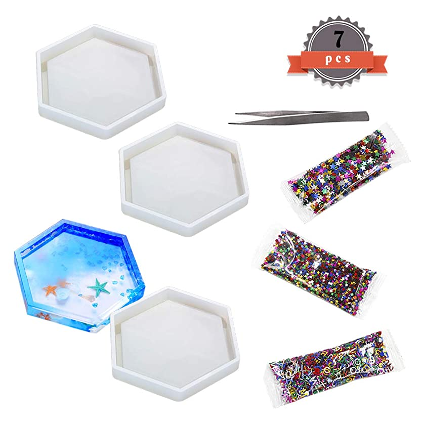 FineInno 3pcs Silicone Molds Epoxy Resin Molds Hexagon Mold Resin Casting Molds for DIY Coasters Craft, Free Sequins Shiny (Hexagon)