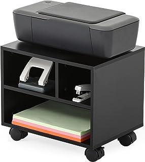 FITUEYES Support d'Imprimante Bois Noir Bureau Côté Mobile 3 Stockage avec Roues 40x30x35cm PS304003WB