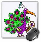 3dRose mp_263773_1 8' x 8' Funny Cute Vain Peacock Bird Looking in Mirror Cartoon Mouse Pad