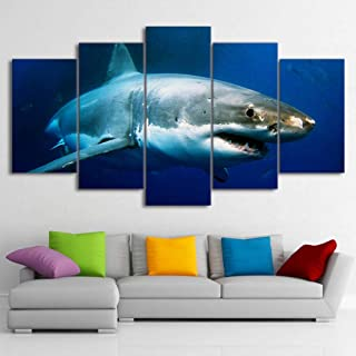 dianlan 5 Piece Canvas Wall Art Decorative Painting Great White Shark Living Hanging Painting Room Kitchen Bedroom Home Decor Creative Environmental Gift(No Frame)