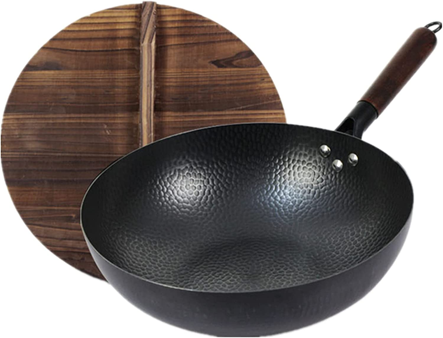 unisex Wok Pan with Wooden Mail order Lid Handle and Spatul Steel Carbon