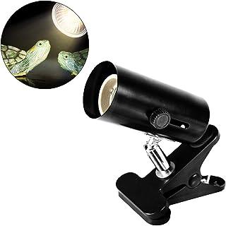 Mallalah Basking Lámpara de Calor Halógena UVA de 25W para Reptiles Acuario de Tortuga Lagarto Iluminada Luz del Sol a Tortuga 360°Giratorio (Soporte Ligero)