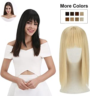 REECHO Clip in Bangs with Scalp Synthetic Straight Hair Extensions Hair Closure Piece Hairpieces 3 Clips in for Women - 25/613