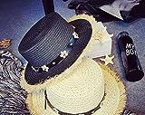 nikgic Multicolor Mode Británicas estilo Burr Daisy Remaches sombrero playa vacaciones estilo sombrero ocio sombrero de paja sonnenschutzmittel Productos negro Negro  58-60cm