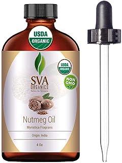 SVA Organics Nutmeg Essential Oil 4 Oz Organic Premium Therapeutic Grade 100% Pure Natural Undiluted USDA C...