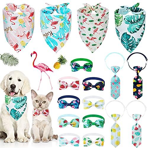 17 Bufandas Triangulares Hawai Corbatas Pajaritas para Mascotas Incluye 4 Pañuelos de Perros 9 Pajaritas 4 Corbatas Accesorios de Cabeza de Flamenco Selva de Mascotas Ajustables para Verano