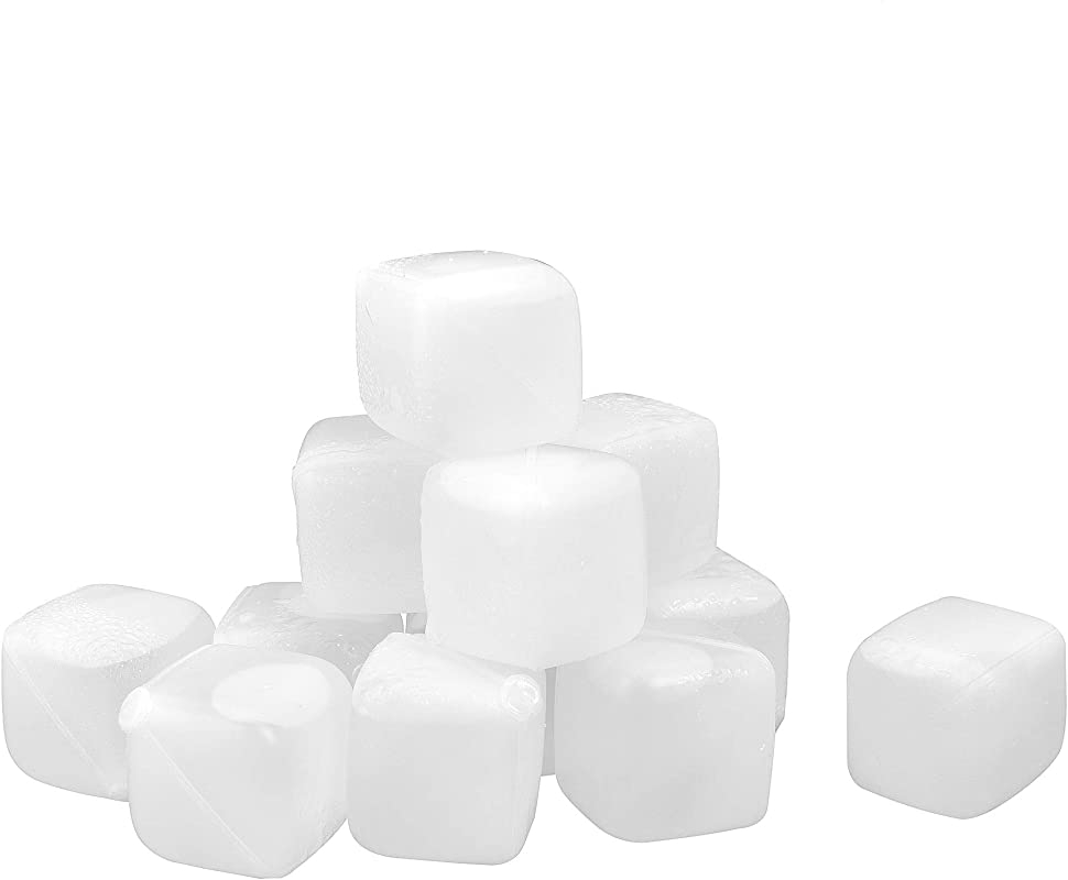 Reusable Ice Cubes HDPE Material BPA Free Dishwasher Safe Cooling Meltless For Whiskey Wine Beer And Drinks 12 PCS