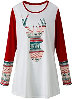 YQ COOL GO Women's Plus-Size Christmas Casual V Neck Blouse Loose Tops Printed Long Sleeves T-Shirt