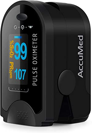 featured product AccuMed CMS-50D Fingertip Pulse Oximeter Blood Oxygen Sensor SpO2 for Sports and Aviation. Portable and Lightweight with LED Display, 2 AAA Batteries, Lanyard and Travel Case (Black)