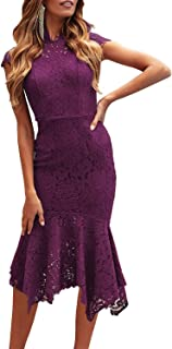 Women's Retro Lace Floral Sleeveless High Neck Mermaid Cocktail Evening Party Dress