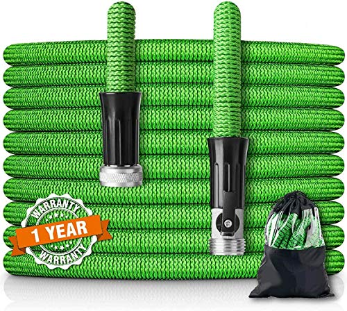 HooSeen 75ft Expandable Garden Hose Flexible Kink-Free Water Hose with Double Latex Core, 3/4' Solid Nickel Plating Fitting and Shut Off Valve (75FT, GREEN)