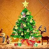 Weihnachtsbaum klein 50cm, künstlicher Christbaum mit bunter batteriebetriebener Lichterkette, Baumspitze, Kugeln, Schelle, Beeren, Kiefernzapfe, Weihnachtsdeko, Mini Tannenbaum für Tisch, Büro - 11