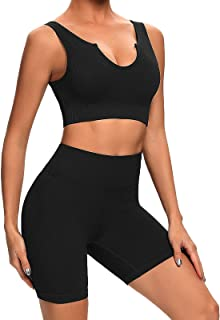 Buscando Yoga Outfits Ribbed 2 Piece Workout Sets for Women Shorts Seamless High Waist Leggings with Sports Bra Gym Sets