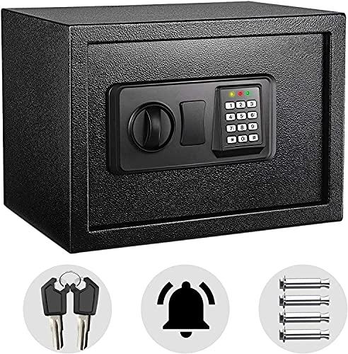 Tresor, Elektronischer Tresor mit Zahlenschloss 2×Notschlüssel, Wandtresor, Doppelbolzen Verriegelung, kann Wertsachen aufbewahren, 35×25×25 cm, 14L Schwarz