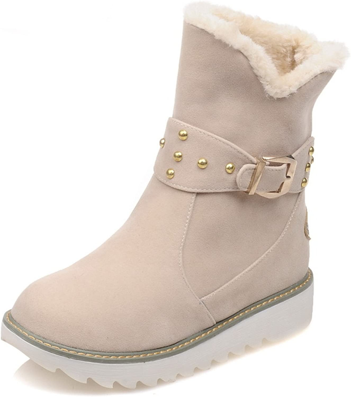 Dahanyi Stylish Warm Faux Fur Waterproof Snow Boots Women Winter Fashion Ankle Boots Big Size Black Brown Beige color