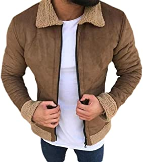 Mens Winter Lapel Warm Sherpa Fleece Coat Zipper Quilted Jacket Coat Outwears