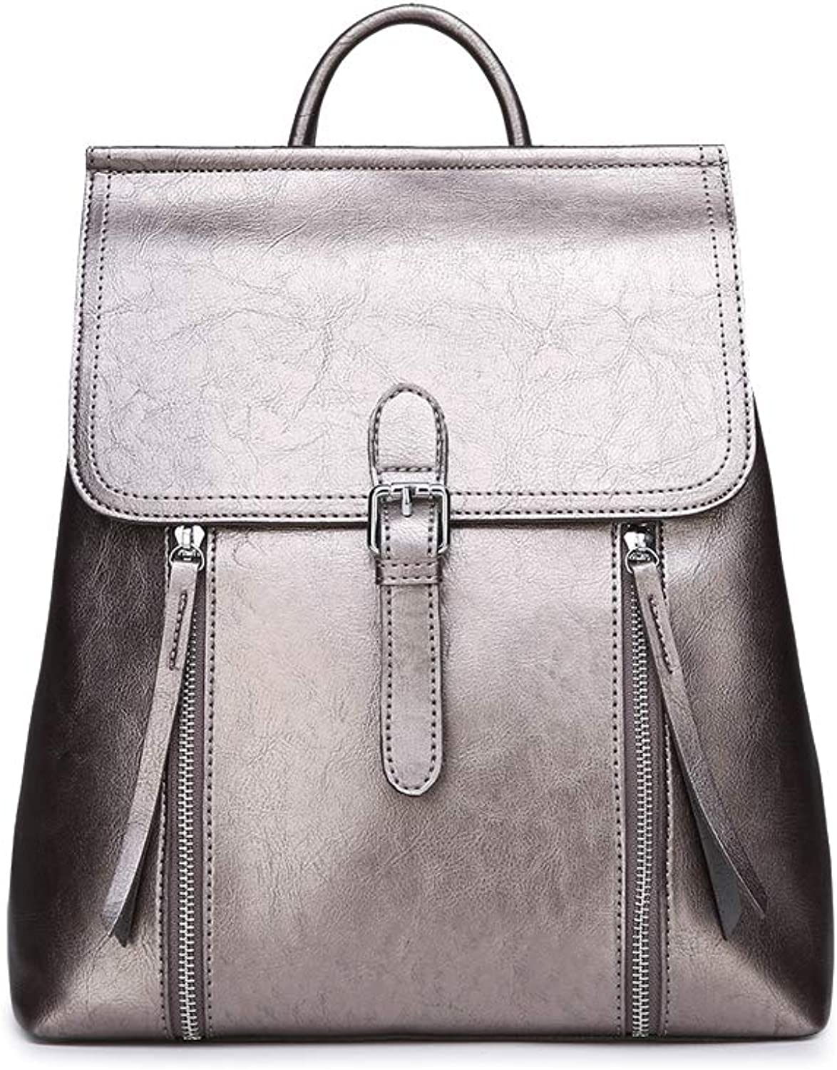 KUNZITE Women's PU Leather Backpack Double Zipper Decor Daybag Casual Pack Bag for Girls and Ladies