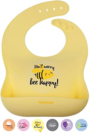 KIDDO FEEDO Silicone Bib for Baby Boys and Girls - 6 Designs/Colours with Fun and Cute Sayings Available - Non-Absorbent and Easy Roll Up and Go - Yellow