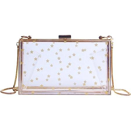 Syrads Damen Abend Clutches Handtasche Cross Body Clutch Case Geldbörse mit Kette,Golden