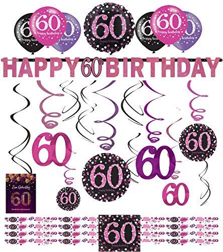 Libetui 60 Geburtstag Dekoration Deko-Set 'Sparkling' Pink Happy Birthday Partykette Girlande Konfetti Luftballons Geburtstagskarte 60.Geburtstag
