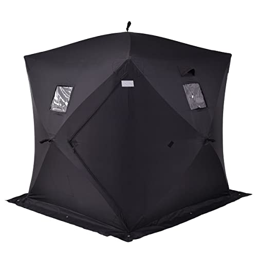 Tangkula Pop-up Ice Shelter 2-Person with Detachable Ventilation Windows, Zippered Door