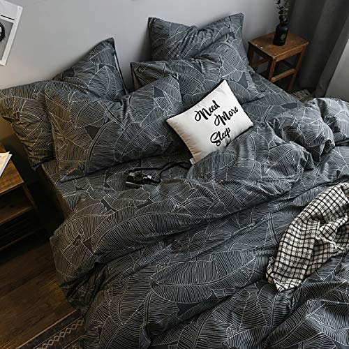 Uozzi Bedding 3 Piece King Summer Duvet Cover Set 800 - TC Luxury Hypoallergenic Dark Gray Comforter Cover with Banana Leaves Summer Style