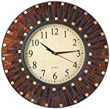 Lulu Decor, 16' Amber Dot Mosaic Wall Clock with 9.5' Glass Dial, Silent Movement for Living Room & Office Space (LP82)