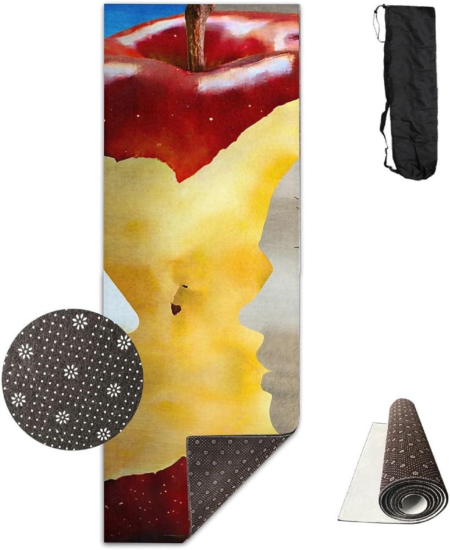 Yoga Mat Non Slip 24  X 71  Exercise Mats Art Apple Premium Fitness Pilates Carrying Strap