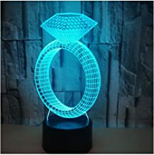 3D Optical Illusion LED Lamps Night Light,Amazing 7 Colors Quick Touch Switch Lamp with Smooth Acrylic Flat,USB Powered Deco Lamp,Birthday Christmas Holiday Gift for Kids and Friends,Diamond_Ring_a