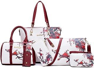 Printed Ladies Handbags 6piece Shoulder Bag Bag Large Capacity PLeather Business Work Travel (Color : White, Size : M)