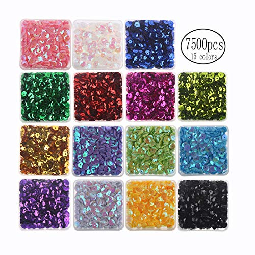 7mm Cup Sequins Boxed 7500PCS Rainbow Loose Sequin Bulk Iridescent Spangles Craft Mixed 15 Color Assorted for DIY Arts Crafts Making by CCINEE