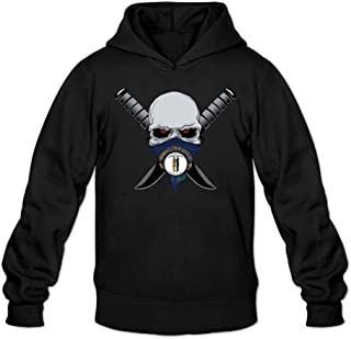 Flag Of Kentucky Calaberas Symbol Men's Long Sleeve Hooded Sweatshirt