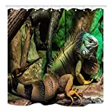 SPXUBZ Green Iguana Large Arboreal Mostly Herbivorous Species of Lizard Shower Curtain Waterproof Bathroom Decor Polyester Fabric Curtain Sets with Hooks
