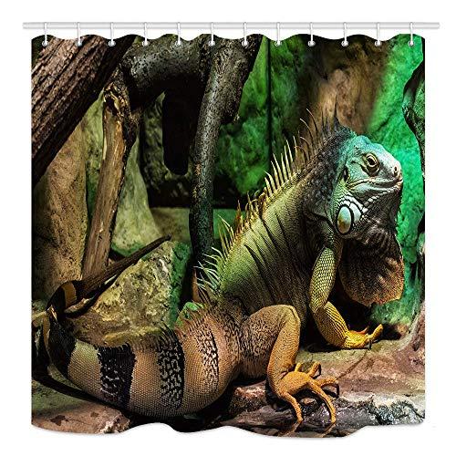 CICIDI Grüner Leguana-Duschvorhang, große Gartenlaube, meistens pflanzenfressende Art von Eidechse, wasserdichter Stoff, Badezimmer-Dekor, Badvorhänge Zubehör, mit Haken, 183 x 183 cm