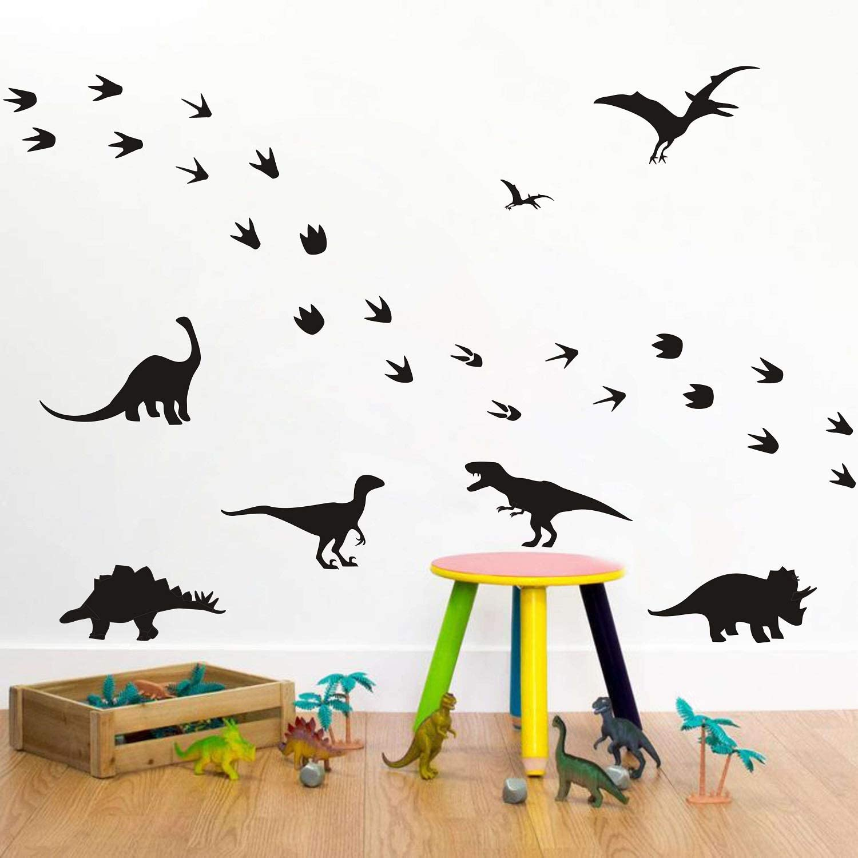 Black Dinosaur Wall Stickers Dinosaur Footprints Wall Decor Dino Feet Wall Decals Animals Vinyl Dinosaur Wall Decals for Boys Bedroom Kids Room Nursery