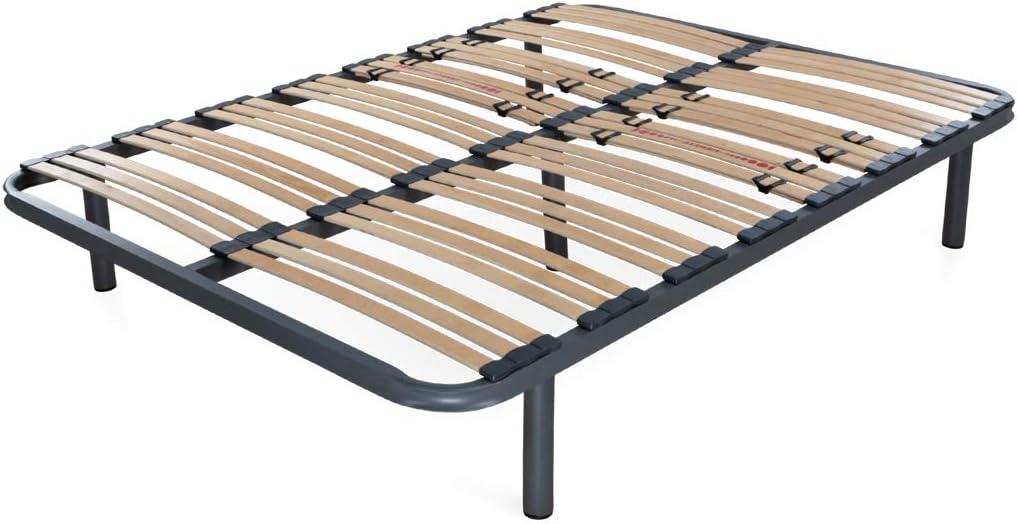 Dormidán - Somier Somieres multiláminas con regulación lumar, Tubo de Acero 40x30mm, Medida 150x190cm (5 Patas de 26cm Incluidas)