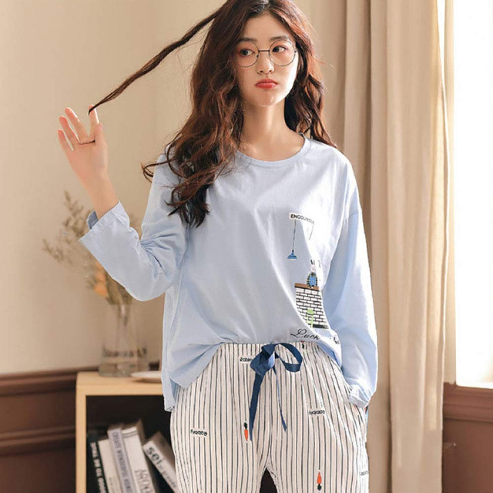 SMYFM Pijama, Conjunto de Pijamas Mujeres Niñas Pantalones de algodón de Manga Larga Conjunto Pijamas Femenino Primavera Otoño Ropa de Dormir 2 Piezas/Juego Tamaño Grande, A07, XXL: Amazon.es: Hogar