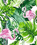 HaokHome 93013 Watercolor Flamingo Tropical Peel and Stick Wallpaper Removable Green/Pink Vinyl Self...