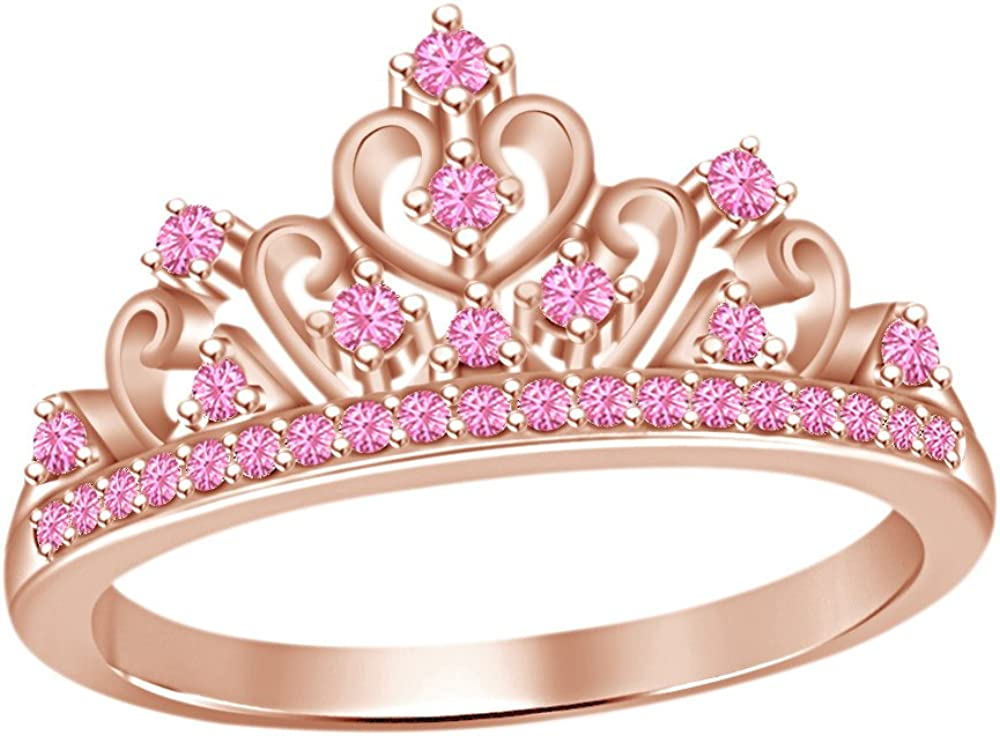 AFFY Round Cut Simulated Tourmaline Princess Ring High quality Crown R in Cheap mail order shopping 14k