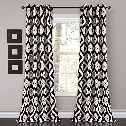 "Lush Decor Diamond Ikat Room Darkening Window Curtain Panel Pair, 84"" x 52"", Black, 2 Count"