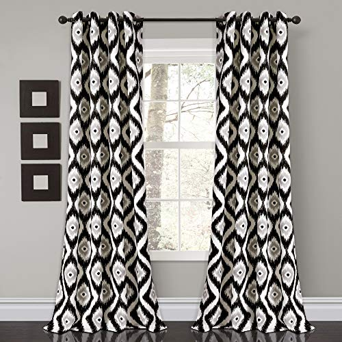 "Lush Decor Diamond Ikat Room Darkening Window Curtain Panel Pair, 84"" x 52"", Black, 2 Count"