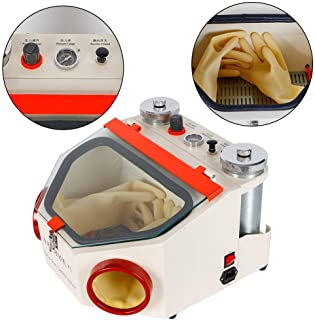 Aries Outlets Dental Lab Sandblaster with 2 Pen + 2 Tanks LED Light and Large View Window Sandblaster Machine with Foot Pedal Control