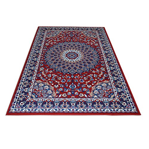 Alfombra de diseño clásico persa, económica, color rojo, modelo Royal Shiraz 2082-RED