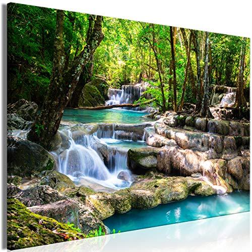 decomonkey | Mega XXXL Bilder Wasserfall | Wandbild Leinwand 160x80 cm Selbstmontage DIY Einteiliger XXL Kunstdruck zum aufhängen | Wald Natur Landschaft